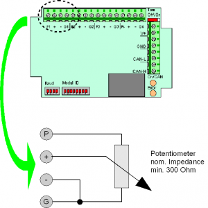 Connection of potentiometer to analogue input module